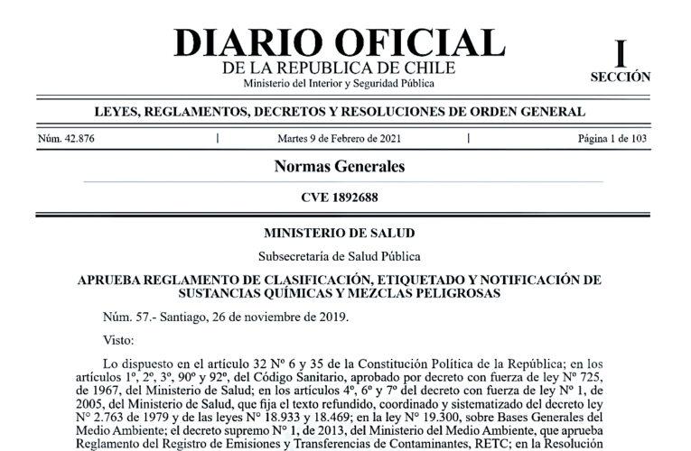 Chile tiene a partir de hoy un Sistema Globalmente Armonizado de Clasificación y Etiquetado de Productos Químicos
